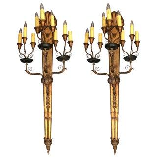 Pair of Ornate Nine-Light Candelabras Wall Sconces For Sale