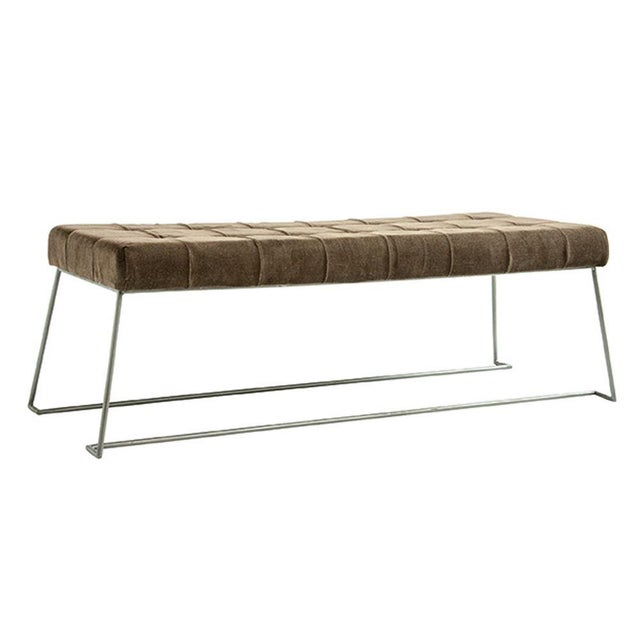 2010s Mid Century Upholstered Bench For Sale - Image 5 of 5