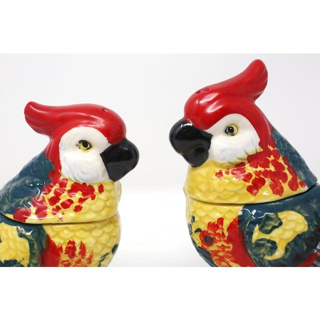 Blue Vintage Hand-Painted Parrots Salt/Pepper and Cream/Sugar Set - Set of 2 For Sale - Image 8 of 13