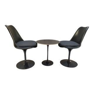 Eero Saarinen Black Fiberglass Molded Aluminum Tulip Chairs & Table - Set of 3 For Sale