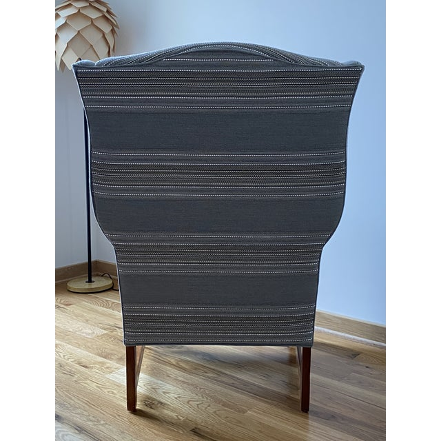 Gray 1970s Gray Stripe Wingback Chair For Sale - Image 8 of 9