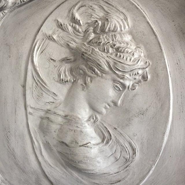 Grey Relief Beveled Floor Mirror For Sale - Image 5 of 7