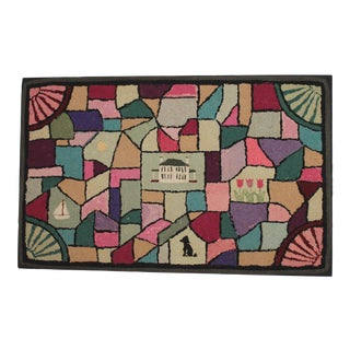 20th Century Pictorial Geometric Hooked Rug For Sale