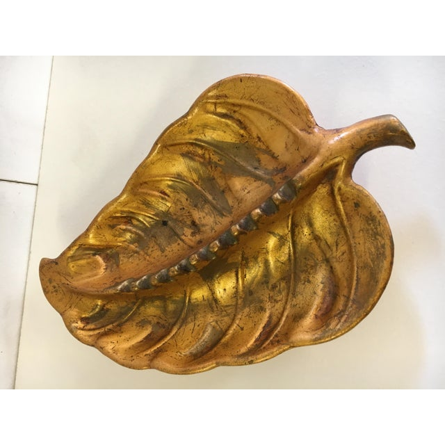Vintage Gold Toned Leaf Shaped Ashtray For Sale - Image 4 of 7