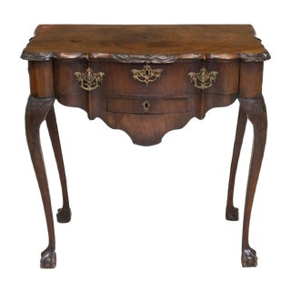 18th C. Chippendale American Carved Mahogany Ball & Claw Lowboy Console Tea Table For Sale