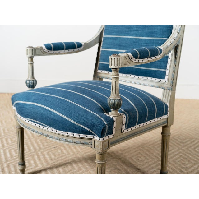 Late 19th Century Antique Neoclassical Blue Reupholstered Armchair For Sale - Image 5 of 7