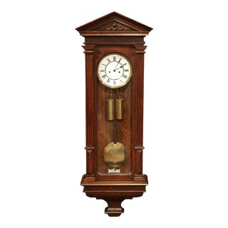 19th Century German Carved Oak Lenzkirch Wall Clock in Working Order