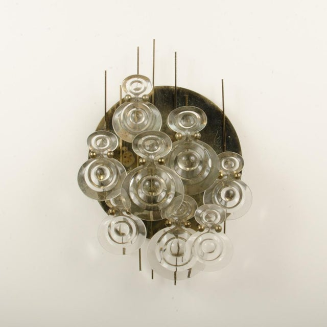 1965 Mid-Century Italian Glass And Brass Wall Sconce For Sale In Philadelphia - Image 6 of 13