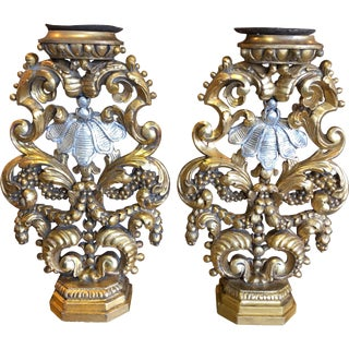 Baroque Style Giltwood and Silver Gilt Candlesticks - a Pair For Sale