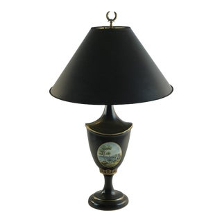 1980s Vintage Maitland Smith French Painted Urn Table Lamp For Sale