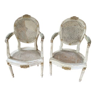 18th Century Italian White Painted and Parcel Gilt Armchairs - a Pair For Sale