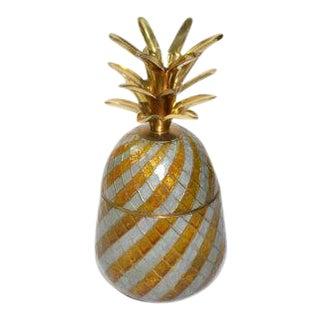 Vintage Gold Enamel & Brass Pineapple Box For Sale