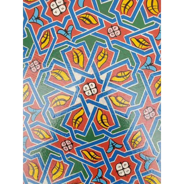 Moroccan Lg Ceuta 4 Painted and Carved Star Table, Multi-Color For Sale - Image 4 of 8