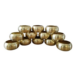 Vintage Brass Napkin Rings, 12 Piece For Sale