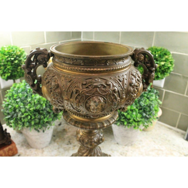 Brown Antique French Spelter Planters Urns Jardinieres Vases Renaissance - a Pair For Sale - Image 8 of 13