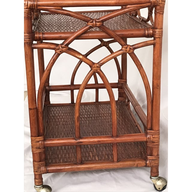 Vintage Rattan Bamboo Bar Cart For Sale - Image 9 of 10