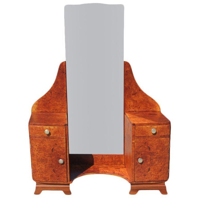 French Art Deco ladies Vanity in Burl Amboyna Central Full Length Mirror. circa 1940s .Dimensions 49.25ʺW × 16ʺD × 64ʺH ,...
