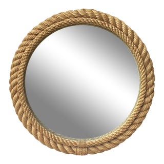 1960s Vintage Audoux Minet Round Rope Mirror For Sale