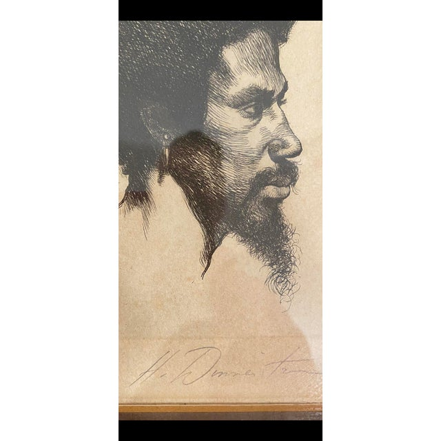 Really unique and unusual find of a black male portrait signed limited edition etching. Signature hard to determine and is...