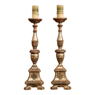 Large 19th Century Italian Carved Silver Leaf Candlesticks Prickets - a Pair For Sale