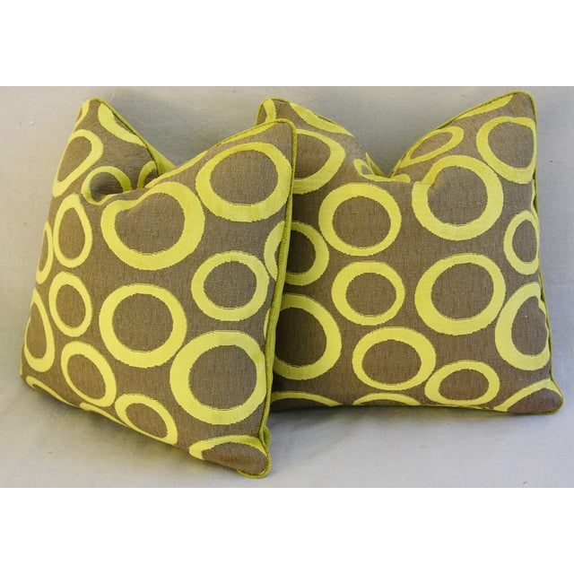 Hollywood Glam Lime Opuzen Cut Velvet Pillows - a Pair - Image 9 of 11