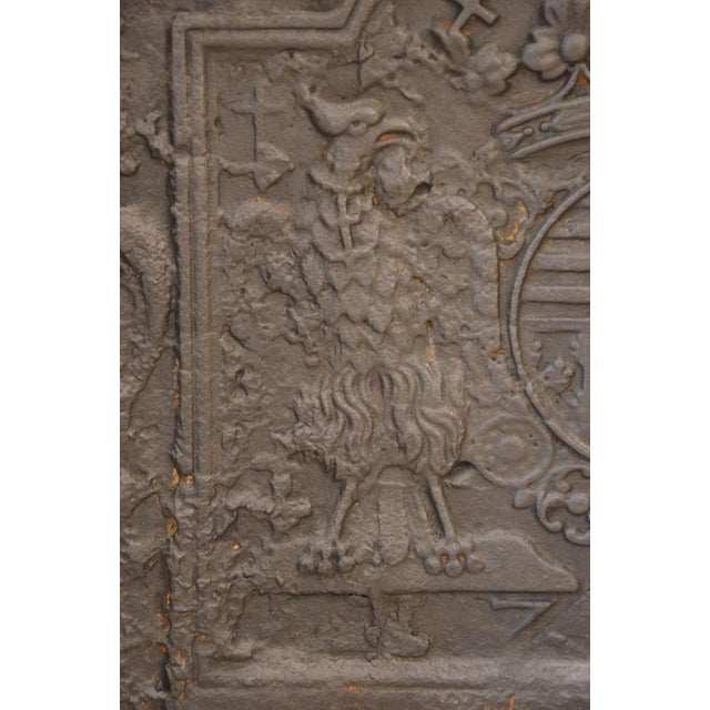 Black 18th C. Large Fireback - Coat of Arms Lorraine from 1704 For Sale - Image 8 of 11