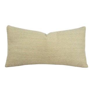 "F. Schumacher Vance Herringbone in Greige Lumbar Pillow Cover - 10.5"" X 20"" Tan Chevron Woven Pattern Rectangle Cushion Case For Sale"