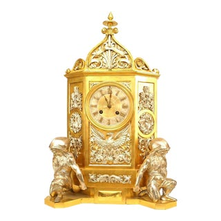19th Century English Gothic Revival Gilt Mantle Clock For Sale