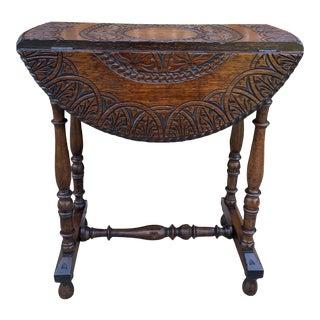 Antique English Highly Carved Top Oak Petite Trestle Leg Drop Leaf Table For Sale