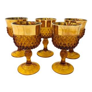 Vintage Amber & Gold Glass Goblets For Sale