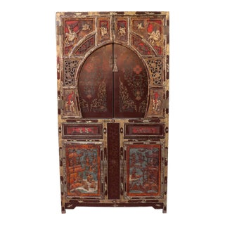 1940s Chinese Tall Wooden Cabinet For Sale