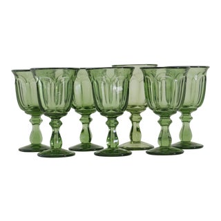 Green Glass Wine Goblets - Set of 7 For Sale