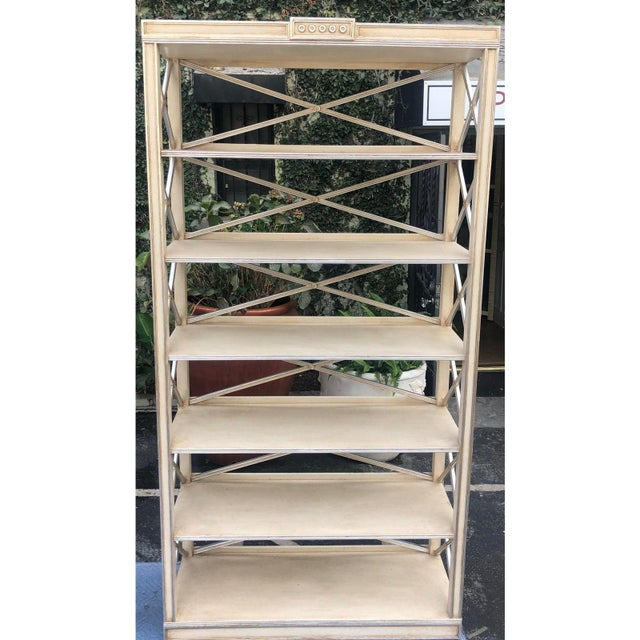 Pair of Charles Pollock Chateau White & Silver Swedish Empire Etagere Shelving Units.