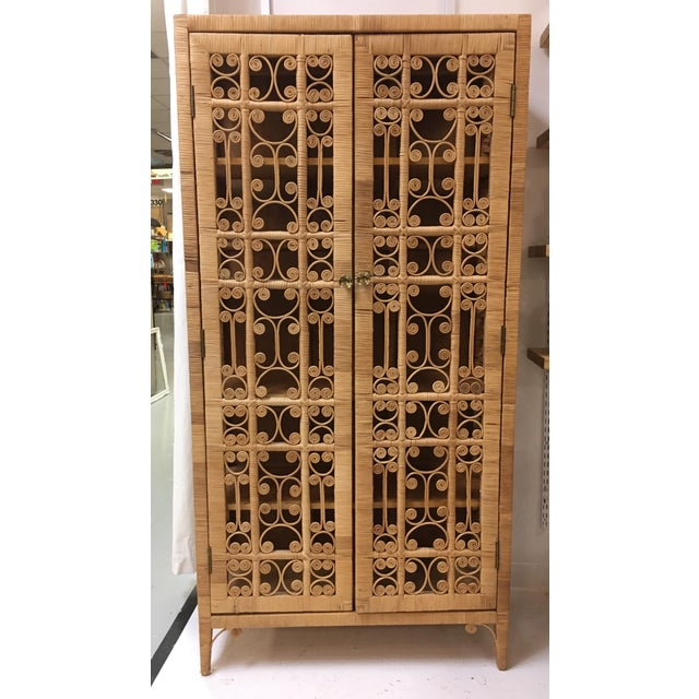 Bohemian Rattan Armoire Cabinet - Image 8 of 10