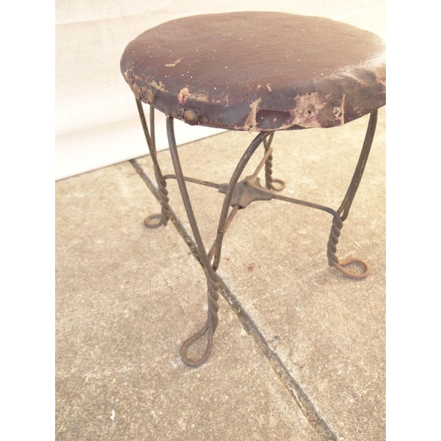 Antique Ice Cream Parlor Twisted Metal Foot Stool Ottoman For Sale - Image 5 of 7