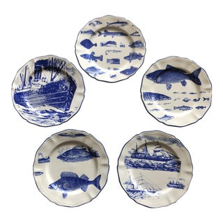 Luneville Nautical Plates - Set of 5 For Sale