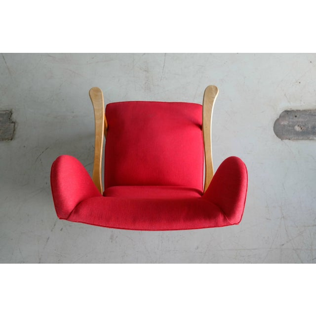 1950s Danish Midcentury Wingback Lounge Chair Attributed to Fritz Hansen For Sale - Image 5 of 9