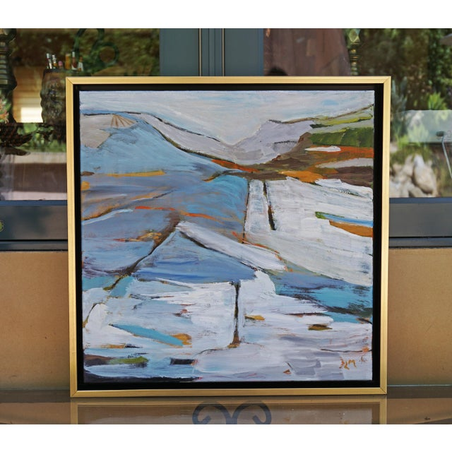 """Canvas """"Land Lines"""" Abstract Landscape Painting by Laurie MacMillan, Framed For Sale - Image 7 of 7"""