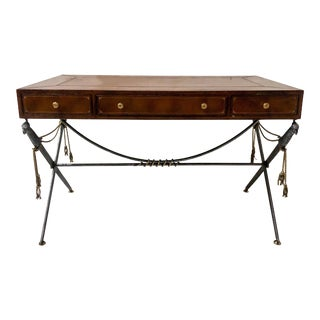 Maitland-Smith Leather Top Campaign Style Desk For Sale