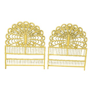 20th Century Boho Chic Wicker Peacock Headboards - a Pair For Sale