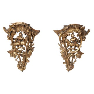 19th Century Carved Giltwood Brackets - a Pair For Sale