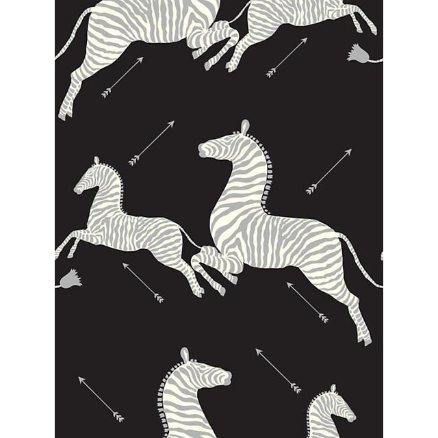 Scalamandre Zebras, Black & Silver Wallpaper For Sale
