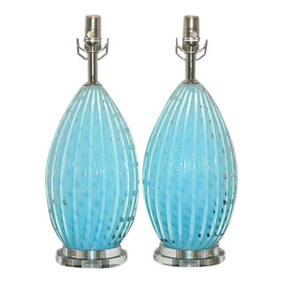 Vintage Murano Glass Table Lamps Blue For Sale