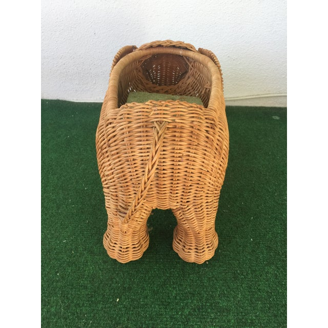 Wicker Elephant Planter For Sale - Image 4 of 9