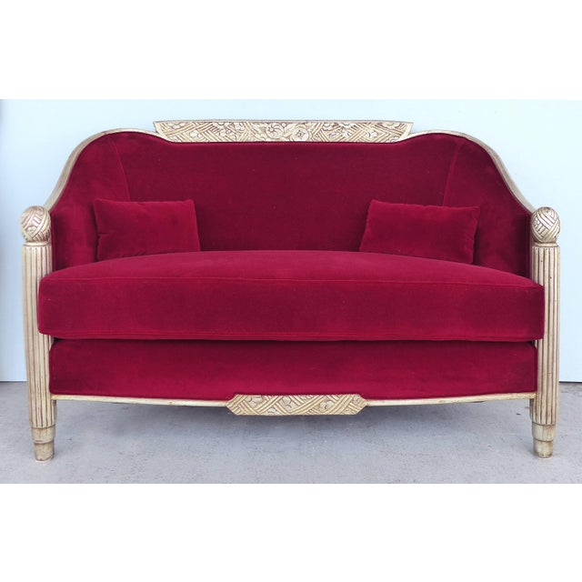 1920s Paul Follot French Art Deco Settee and Bergères Set For Sale - Image 5 of 13