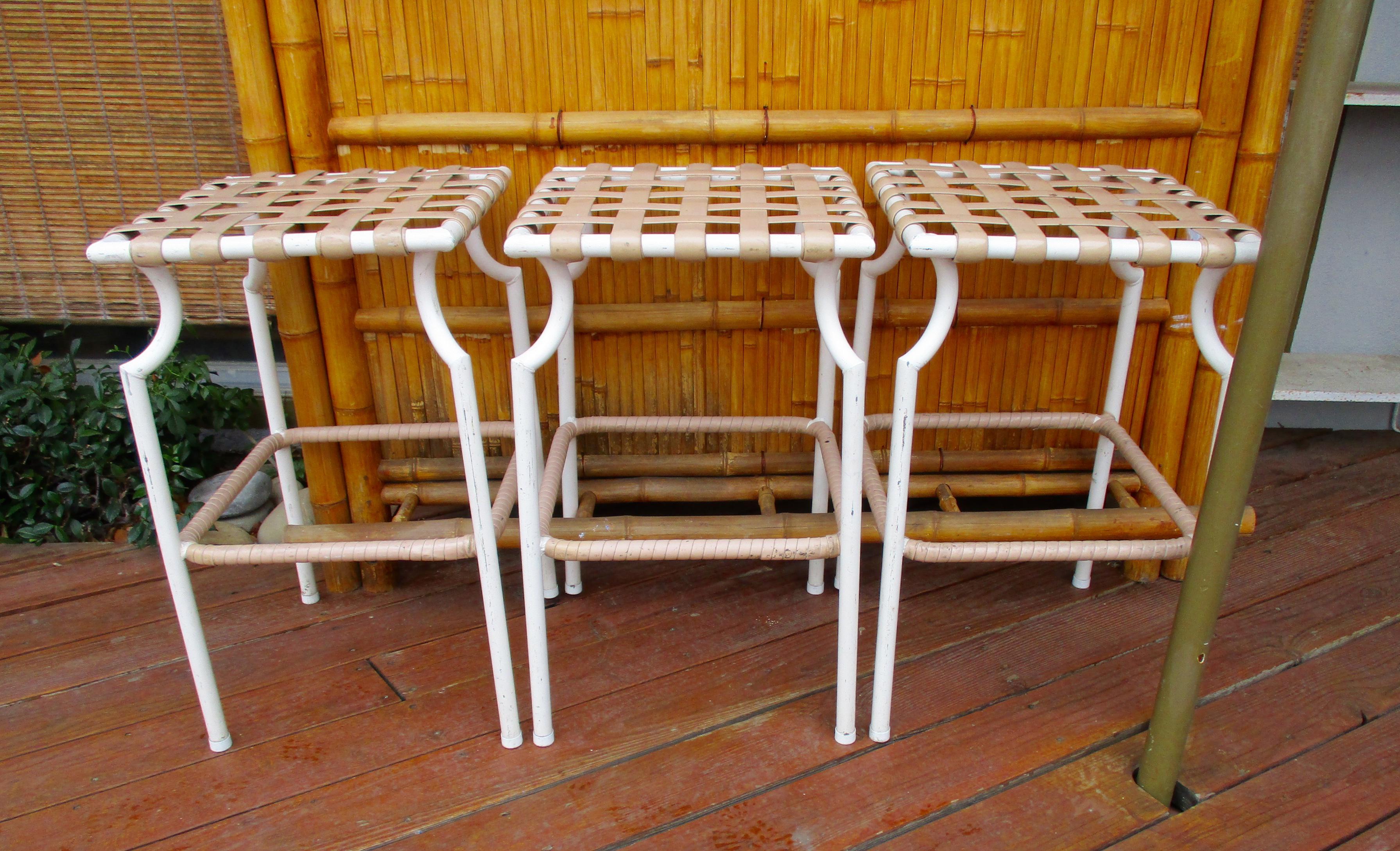 Tropitone Mid Century Modern Pation Bar Stools Set Of 3