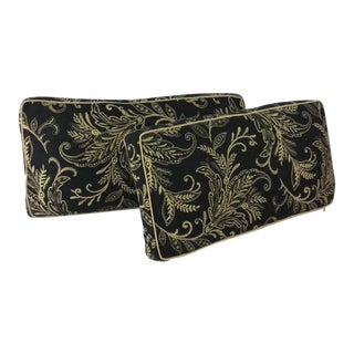 Black and Tan Paisley Box Lumbar Pillows - A Pair For Sale