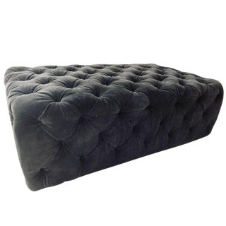 Hollywood Regency Style Large Velvet Tufted Ottoman or Coffee Table For Sale