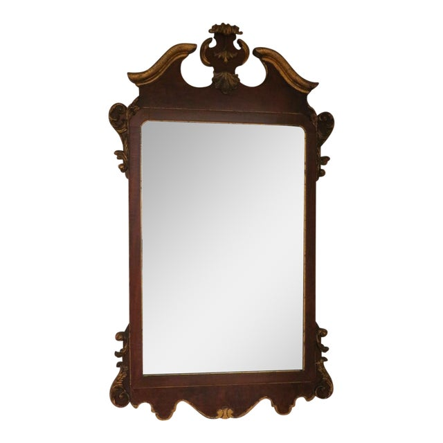 Vintage Italian Gold Mirror by La Barge Burl Wood and Gold Gilt For Sale