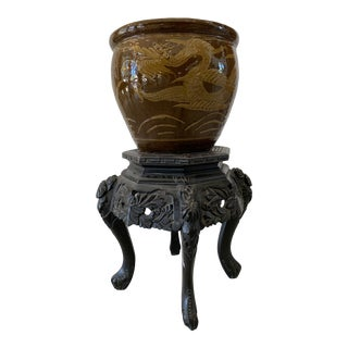 Early 20th Century Asian Flower Cachepot With Base For Sale